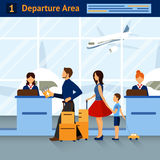 Scene In Airport Departure Area. Scene airport departure area with passengers reception and airplanes on background with title on top vector illustration Royalty Free Stock Photography