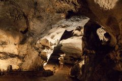Scene from the amazing bulgarian cave Magura stock image