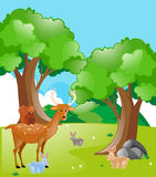 Scene with animals in the park. Illustration Royalty Free Stock Photos