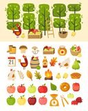 A scene with apple garden trees and elements in front of it. Plus icons of various apple theme items, foods and containers. Isolated vector illustrations vector illustration