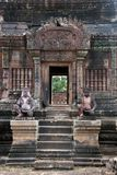 Staircase with monkey guardians at the 10th century Banteay Srei temple Stock Photography
