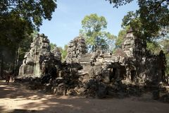 Unrestored buildings in the 12th Century Ta Som temple complex. Scene around the Angkor Archaeological Park. The site contains the remains of the different royalty free stock photos
