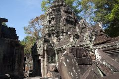 Views of unrestored buildings in the 12th Century Ta Som temple complex. Scene around the Angkor Archaeological Park. The site contains the remains of the Stock Photos