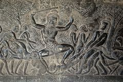 Angkor Wat, 12th century bas relief - Yama Judgement, depiction of  hell. Scene around the Angkor Archaeological Park. The site contains the remains of the Stock Photography