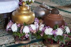 Arrangement of three jars in wat ming muang stock photography