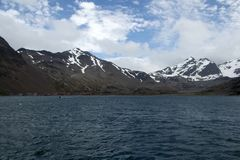 View of island and abandoned whaling station from water stock image