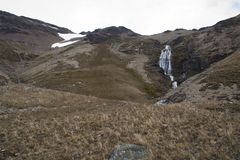 View of ridge with waterfall royalty free stock photos