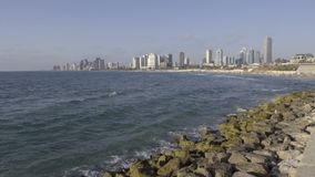 Waves wash ashore near Tel Aviv. Scene as waves wash ashore near Tel Aviv stock footage