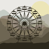 Scene background ferris wheel in thematic park. Vector illustration Royalty Free Stock Photography