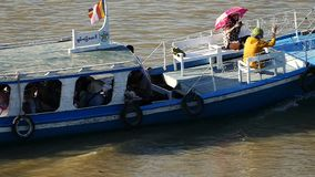 Myanmar river boat. Scene from Bagan Myanmar South East Asia river boats stock video footage