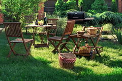 Scene Of Barbecue Grill Party On Lawn In The Backyard Stock Images