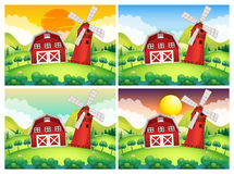 Scene with barn and windmill at day and night Royalty Free Stock Photography