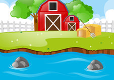 Scene with barns and river. Illustration Stock Photography