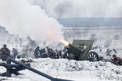 Scene of battle during military-historical festival Stock Photo