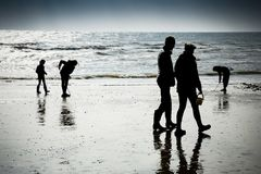 Family enjoying the seaside walking and digging on the beach Royalty Free Stock Photos