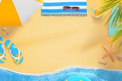 Scene from the beach with text space in the middle Royalty Free Stock Photography