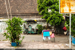 Scene behind the city walls with laundry Stock Photography
