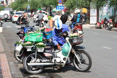 Scene at Ben Thanh street in Saigon, Vietnam Royalty Free Stock Photography