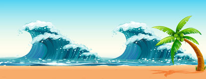 Scene with big waves in the ocean. Illustration Stock Photos