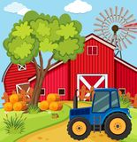 Scene with blue tractor on the farm vector illustration