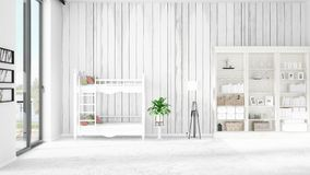 Scene with brand new interior in vogue with white rack and baby bed. 3D rendering. Horizontal arrangement. Scene of nursery with brand new interior in vogue Stock Image