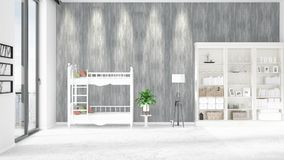 Scene with brand new interior in vogue with white rack, baby bed. 3D rendering, 3D illustration. Horizontal arrangement. Scene of nursery with brand new Royalty Free Stock Images