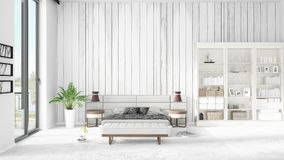 Scene with brand new interior in vogue with white rack. Scene with brand new loft interior in vogue with white rack and modern bed. 3D rendering. Horizontal Royalty Free Stock Photo