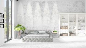 Scene with brand new interior in vogue with white rack and modern bed. 3D rendering. Horizontal arrangement. Scene with brand new loft interior in vogue with Stock Photos