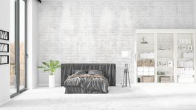 Scene with brand new interior in vogue with white rack and modern bed. 3D rendering. Horizontal arrangement. Scene with brand new loft interior in vogue with Stock Photography