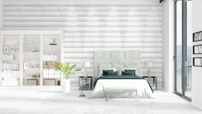 Scene with brand new interior in vogue with white rack. Scene with brand new loft interior in vogue with white rack and modern bed. 3D rendering. Horizontal Stock Photography