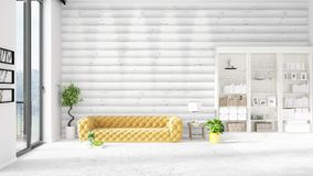 Scene with brand new interior in vogue with white rack and yellow couch.  Royalty Free Stock Images