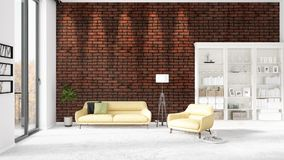 Scene with brand new interior in vogue with white rack and yellow couch.   Royalty Free Stock Image