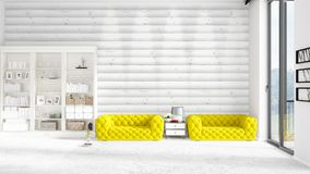 Scene with brand new interior in vogue with white rack and yellow couch.. Scene with brand new loft interior in vogue with white rack and modern yellow divan Royalty Free Stock Images
