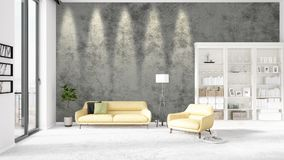 Scene with brand new interior in vogue with white rack and yellow couch.  Royalty Free Stock Photography