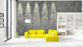 Scene with brand new interior in vogue with white rack and yellow couch.  Stock Images