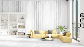 Scene with brand new interior in vogue with white rack and yellow couch.  Royalty Free Stock Photo
