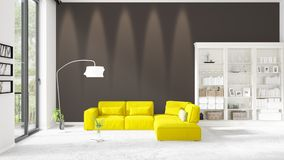 Scene with brand new interior in vogue with white rack and yellow couch.   Stock Image