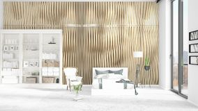Scene with brand new interior with white rack and modern bed. 3D rendering, 3D illustration. Horizontal arrangement. Scene with brand new loft interior in vogue Royalty Free Stock Photography