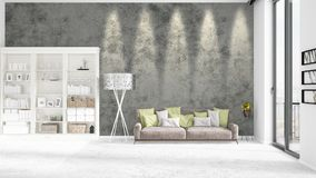 Scene with brand new interior in vogue with white rack and modern bed. 3D rendering. Horizontal arrangement. Royalty Free Stock Image