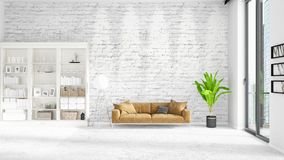 Scene with brand new interior in vogue with white rack and modern bed. 3D rendering. Horizontal arrangement. Royalty Free Stock Photos