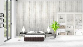 Scene with brand new interior in vogue with white rack and modern bed. 3D rendering. Horizontal arrangement. Scene with brand new loft interior in vogue with Stock Image