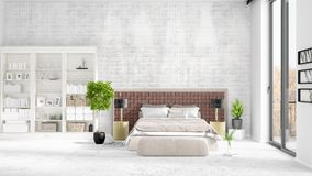 Scene with brand new interior in vogue with white rack and modern bed. 3D rendering. Horizontal arrangement. Scene with brand new loft interior in vogue with Stock Images