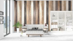Scene with brand new interior in vogue with white rack and modern bed. 3D rendering. Horizontal arrangement. Scene with brand new loft interior in vogue with Royalty Free Stock Photography