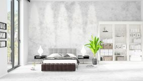 Scene with brand new interior in vogue with white rack and modern bed. 3D rendering. Horizontal arrangement. Scene with brand new loft interior in vogue with Royalty Free Stock Photo