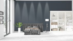 Scene with brand new interior in vogue with white rack and modern bed. 3D rendering. Horizontal arrangement. Scene with brand new loft interior in vogue with Royalty Free Stock Images