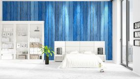 Scene with brand new interior in vogue with white rack and modern bed. 3D rendering. Horizontal arrangement. Scene with brand new loft interior in vogue with Royalty Free Stock Image