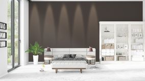 Scene with brand new interior in vogue with white rack. Scene with brand new loft interior in vogue with white rack and modern bed. 3D rendering. Horizontal Stock Image