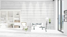 Scene with brand new interior in vogue with white rack. Scene with brand new loft interior in vogue with white rack and modern bed. 3D rendering. Horizontal Royalty Free Stock Photos