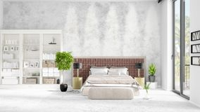 Scene with brand new interior in vogue with white rack and modern bed. 3D rendering. Horizontal arrangement. Scene with brand new loft interior in vogue with Stock Photo
