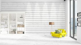 Scene with brand new interior in vogue with white rack and modern yellow chair.  Stock Image